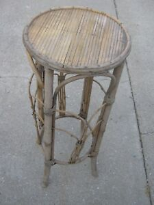 Sensational Details About Vintage Old Used Faded Bamboo Bar Stool Chair Planter Stool Lamtechconsult Wood Chair Design Ideas Lamtechconsultcom