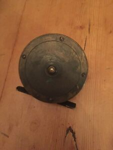 "VINTAGE SOLID HEAVY BRASS 3"" DIAMETER FISHING REEL"