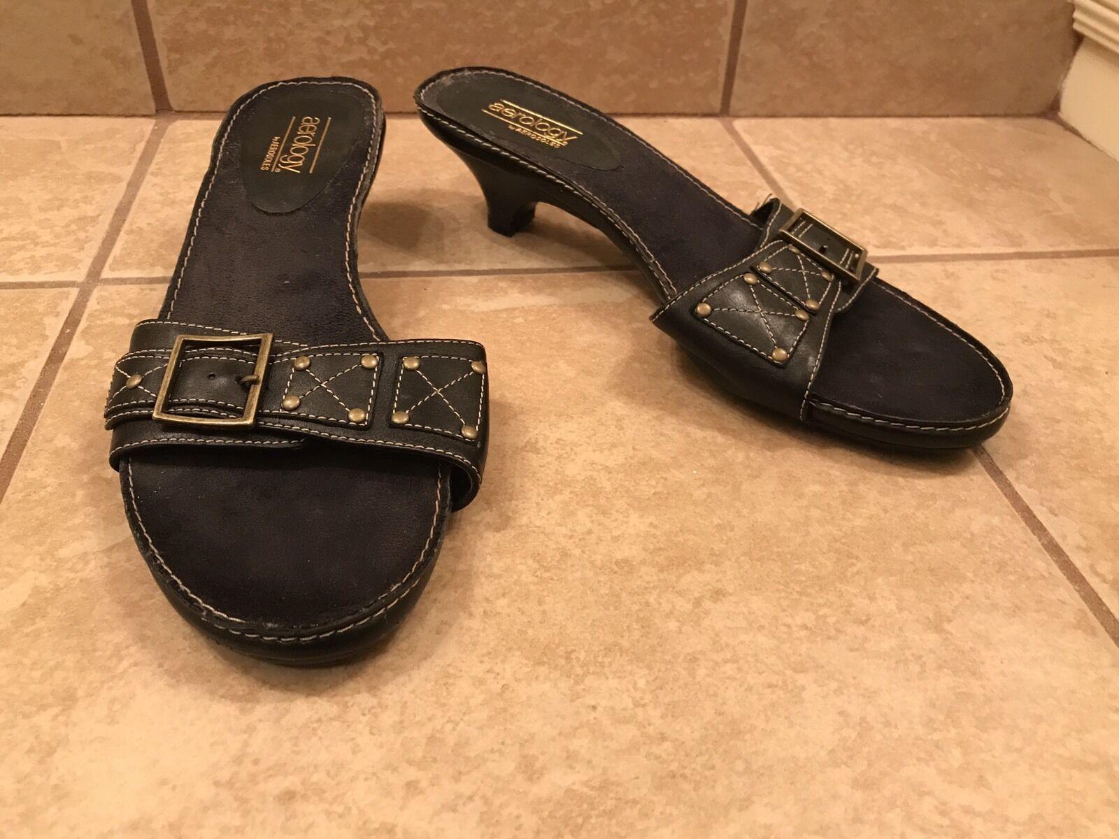 Aerology Sandals by Aerosoles Black Leather Sandals Aerology Shoes Slides 8.5 14c0a6