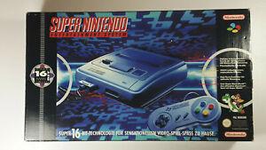 SNES-Konsole-SUPER-NINTENDO-boxed-Set-16-Bit-One-1-Chip-OVP-Mario-w-NEU-NearMint