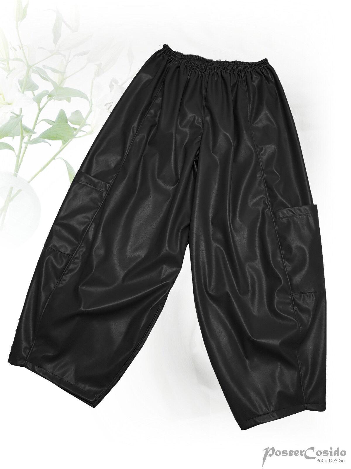 Poco design Lagenlook palloncino pantaloni arte-Pelle-Pantaloni Nero & Grigio L-XL-XXL-XXXL