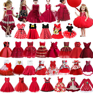 Kids-Baby-Girls-Red-Party-Dress-Princess-Wedding-Flower-Girls-Fancy-Tutu-Dress