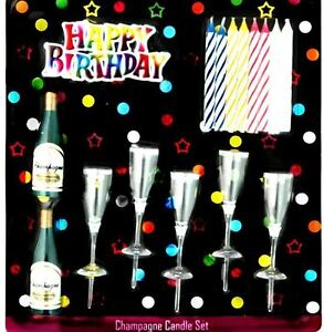 Image Is Loading Happy Birthday Champagne Glass Candles Set Party Decoration