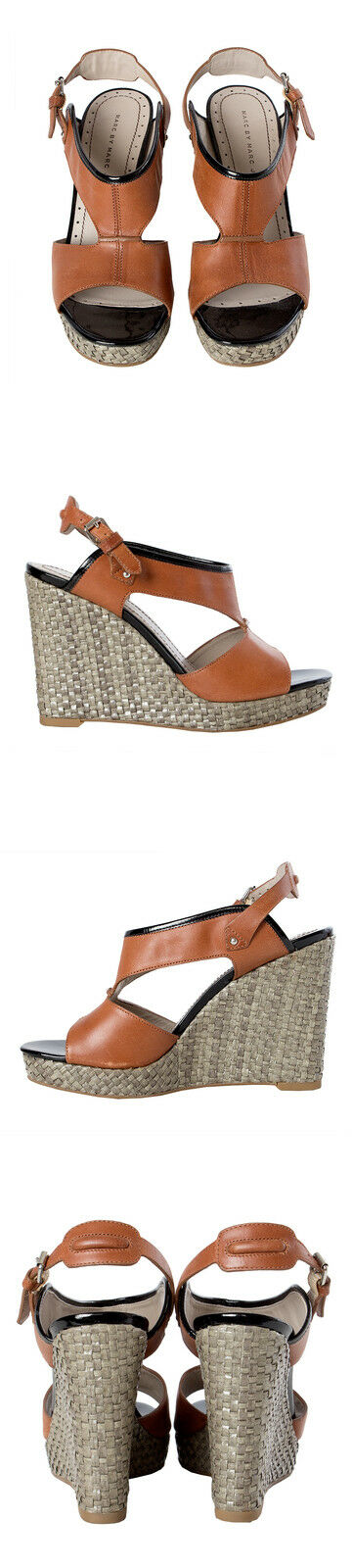 41413 auth Braun MARC by MARC JACOBS Braun auth leather & raffia Wedge Sandals schuhes 36 3253b1