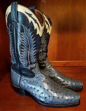 TONY LAMA Denim Full Quill Ostrich Nip Toe Cowboy Boots Size 10.5 D **Style 9500