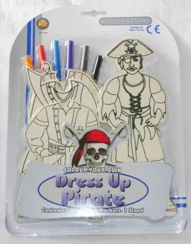 NEW COLOUR YOUR OWN WOODEN DRESS UP PIRATE CRAFT SET WITH 6 PENS 7874 PADG