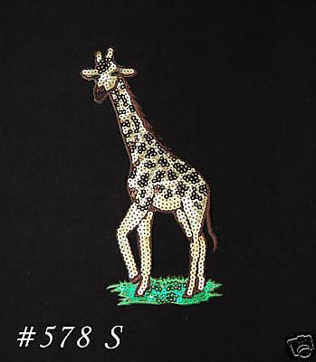 1PC~TALL SEQUIN GIRAFFE~ IRON ON EMBROIDERED PATCH
