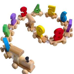 Kinder-Holz-Zahlen-Eisenbahn-Zug-Zahlenzug-0-9-Geschenk-Zug-Spielzeug