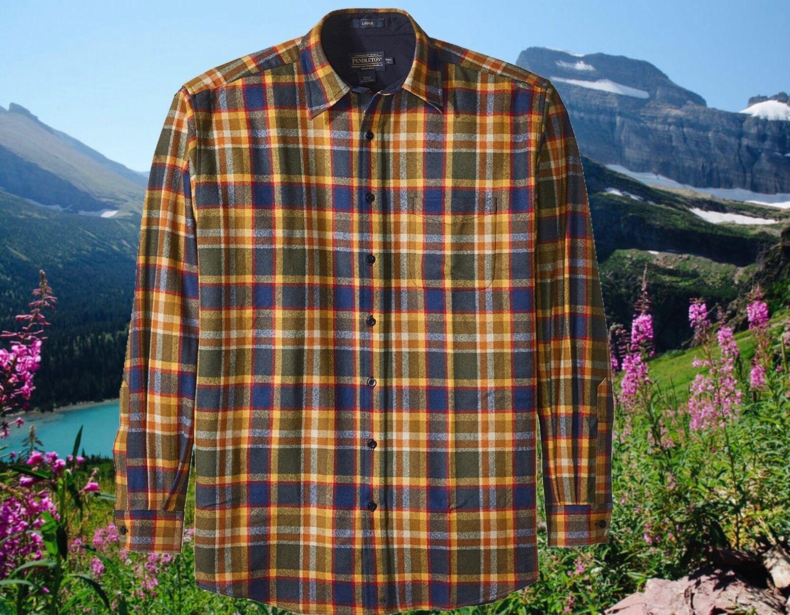 Pendleton Mens 2XL   XXL   2X Fitted Lodge Virgin Wool Shirt Plaid Nwt
