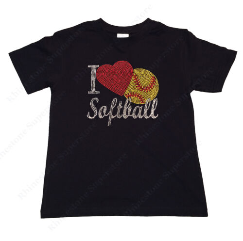 """Girls Rhinestone T-Shirt /"""" I Love Softball /"""" in Size 3 to 14 Available"""
