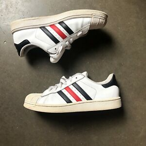 Black Red Stripe Leather Trainers Sz 7