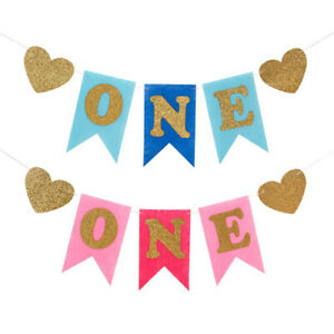 Baby-Shower-One-Birthday-Kid-Gril-Boy-Banner-Bunting-Hanging-Party-Decoration
