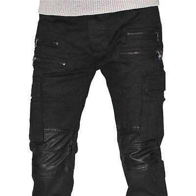 Herren Jeans Hose Leder Optik Slim Fit Clubwear Top Design Japan Style Neu 3109