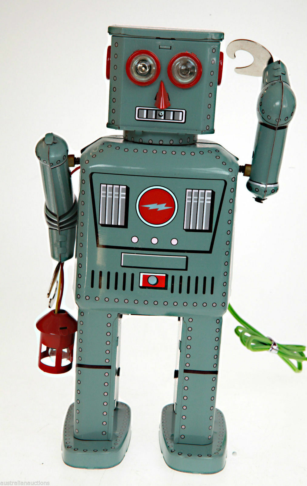 TR2050 LANTERN ROBOT TIN TOY REMOTE CONTROL BATTERY OPERATED SMOKES HARD TO GET