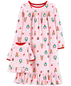 Carter-039-s-Toddler-Girls-Holiday-Print-Nightgown-with-Doll-Nightgown-Size-2T-28