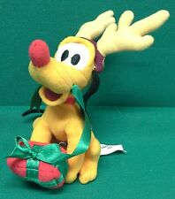DISNEY Christmas Tree Decoration Pluto with Present and Reindeer Antlers