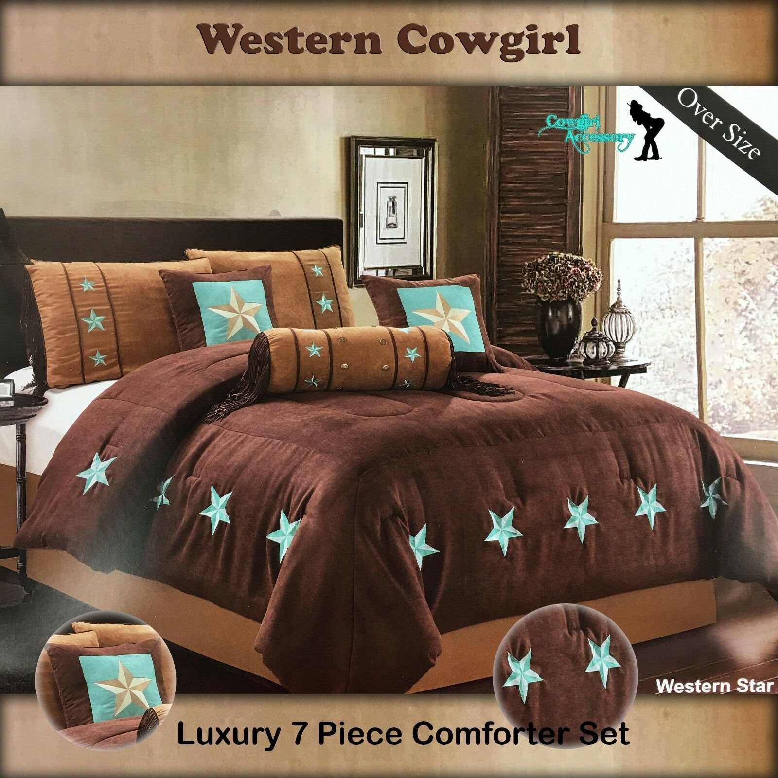 oversize luxury western texas lone star brown taupe comforter bedspread 7 pc set ebay. Black Bedroom Furniture Sets. Home Design Ideas