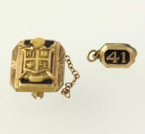 Vintage-Escuela-Pin-amp-Protector-Clase-1941-Esmalte-Recuerdo-Coleccionable-De
