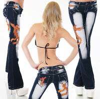 New Women Clubbing Tattoo Boot Cut Jeans Size 6 8 10 12 14 Ladies Denim Trouser