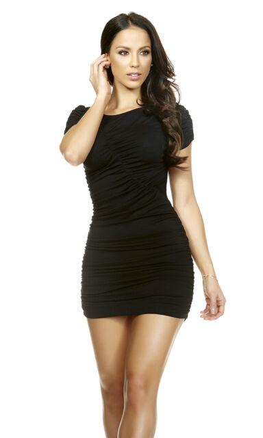 SEXY MINI ABITO STRETCH ELASTICIZZATO ADERENTE NERO MANICHE CORTE BLACK  DRESS S