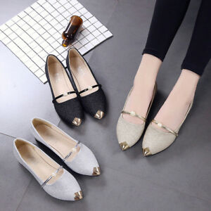 Fashion-Women-Casual-Spring-Pointed-Toe-Square-Heel-Shoes-Low-Heel-Flat-Shoes