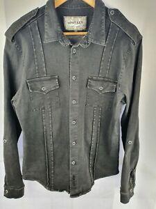 Nana-Judy-Black-Button-Up-Long-Sleeve-Shirt-Mens-M