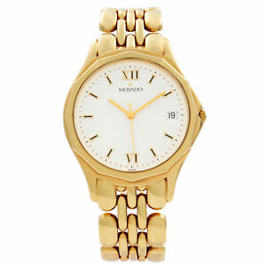 Movado 14k Yellow Gold White Roman Dial Quartz Mens Watch 74-19-880