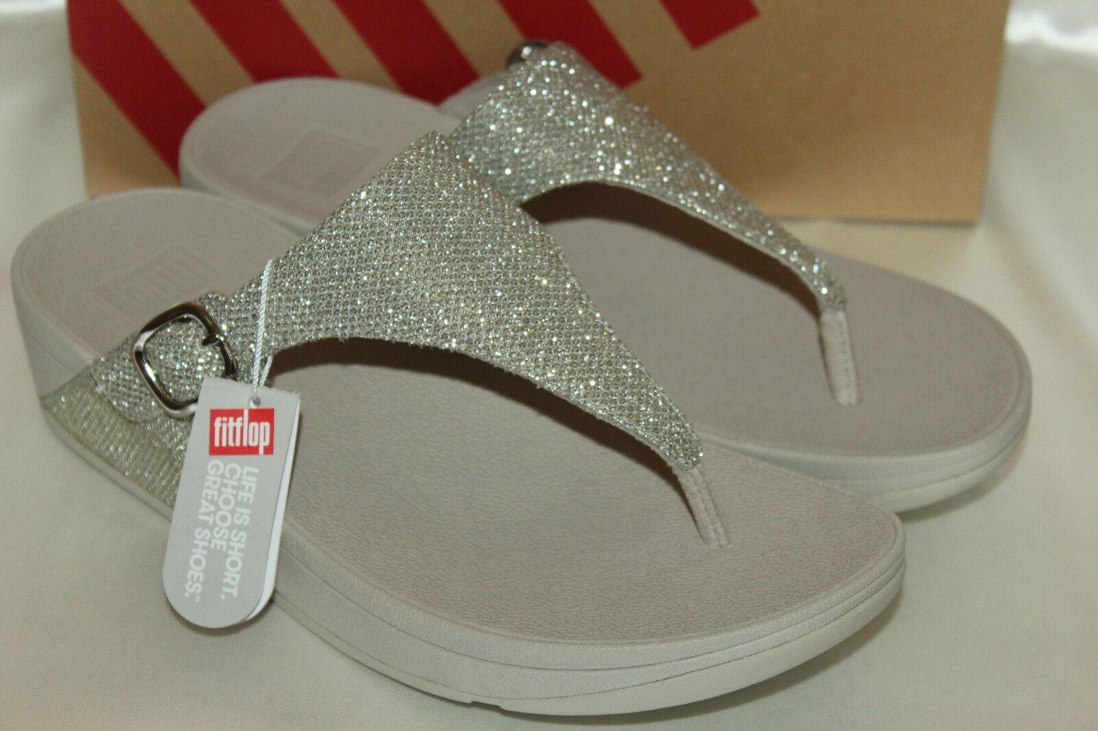 NEU NIB FITFLOP Pale Gold THE SKINNY SPARKLE Flip Flop Thong Slide Sandales Sz 9