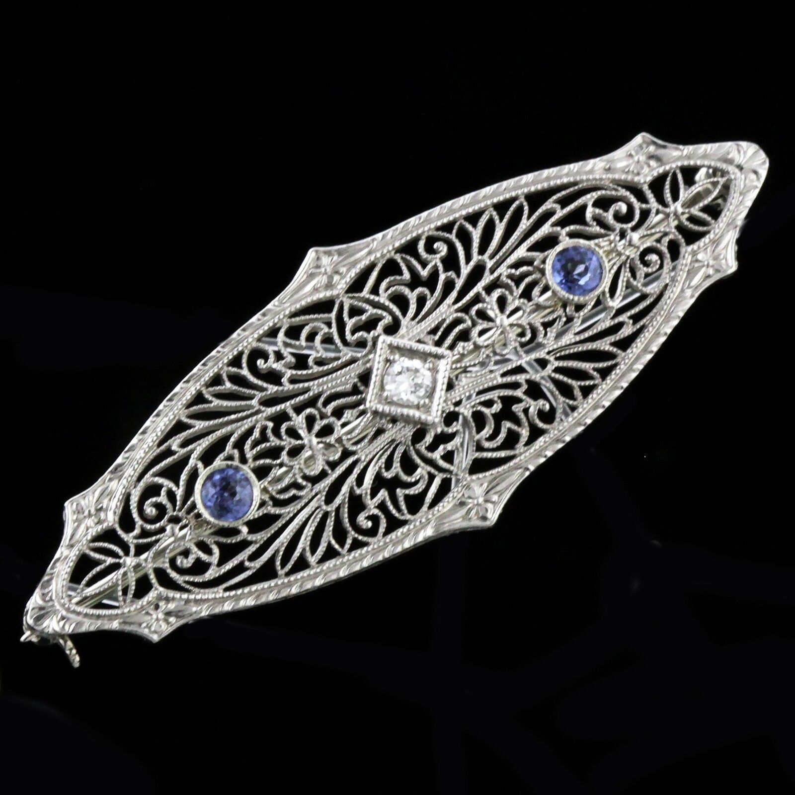 ART DECO 14KT WHITE gold FILIGREE NATURAL SAPPHIRE AND DIAMOND PIN 1920'S