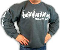 Bodybuilding Clothing Sweatshirt Workout Top Charcoal Iron & Pain Logo D-24