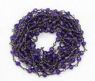 6BGI181C Sold By Foot 3-3.5 mm Black Rutile Smooth Uneven Rondelle Chain Black Rutile Rosary Beaded Chain