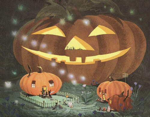 Halloween in Bugsville Jack O Lantern houses by Art Riley