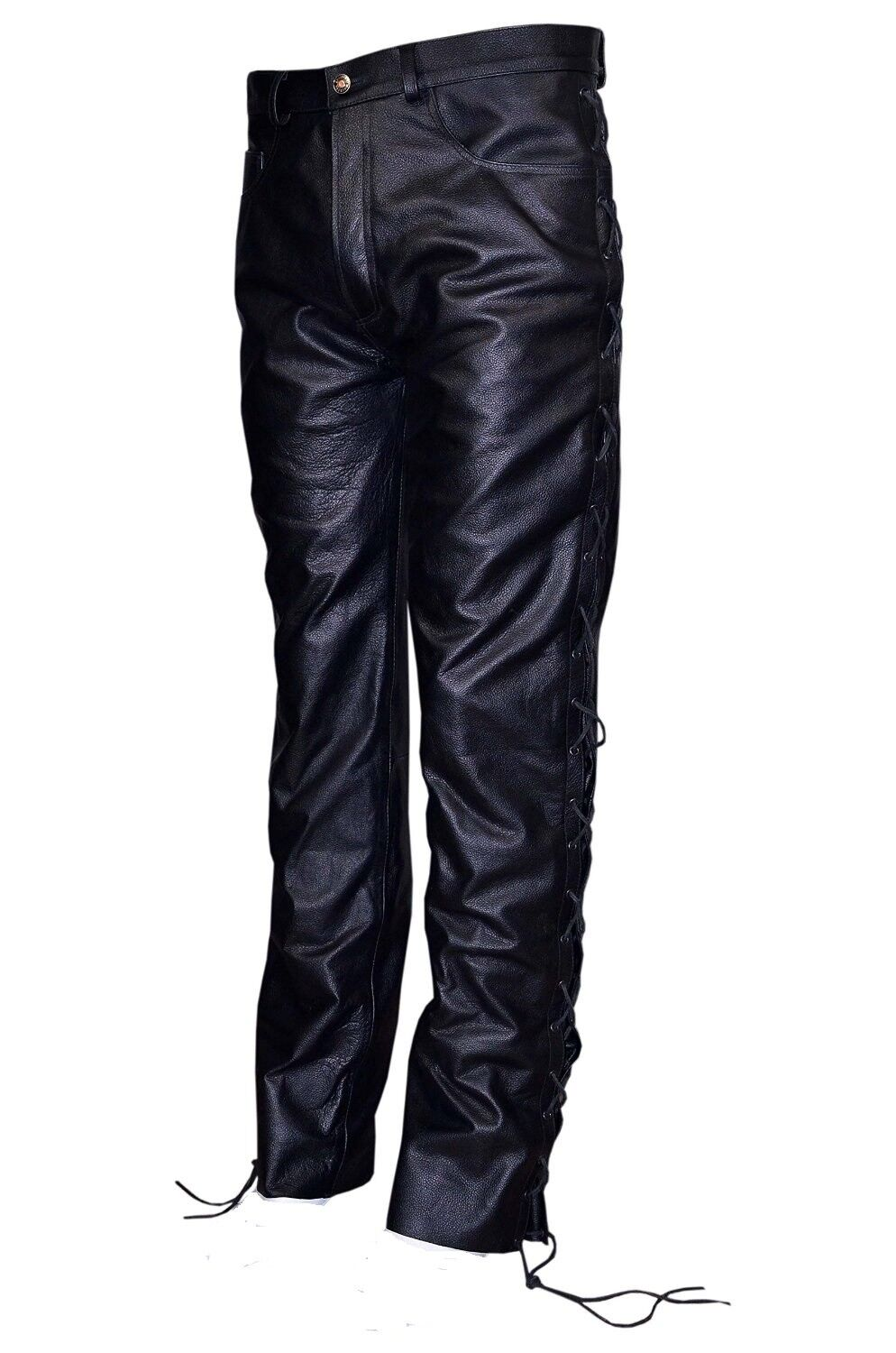 MENS schwarz LACED PANTS GENUINE HIDE LEATHER BIKER STYLE MOTORBIKE JEANS TROUSERS