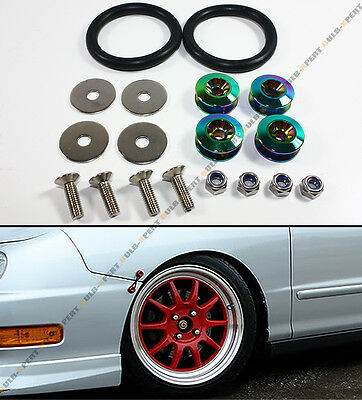 Neo Chrome Aluminum Heavy Duty JDM Car Bumper Fender Quick Release Fastener Kit