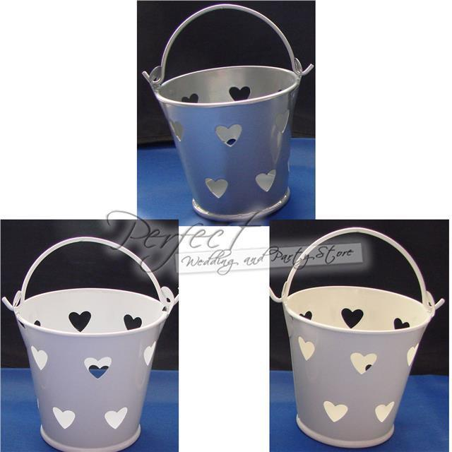 10 Mini Pails Metallic Wedding Party Favour Buckets Table Decoration Gift