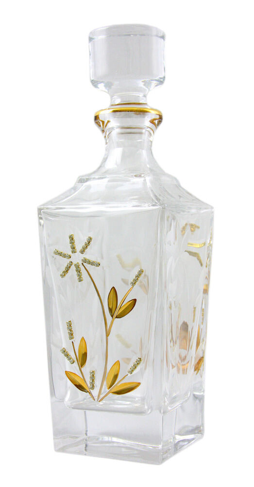 Bloom 27 Oz Crystal Whisky Decanter with Swarovski, 24K or-Plated Ornament