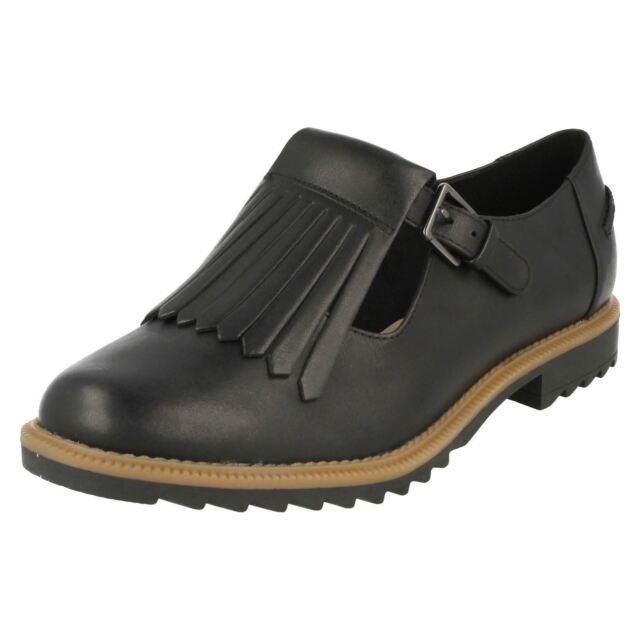 2c8a8fa14430b Ladies Clarks Buckle Fastened Fringe Flats Griffin Mia Black Leather ...