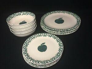 FOLKCRAFT-TIENSHAN-Green-Apple-Spongeware-Plates-Bowls-Green-White-Fruit