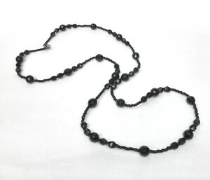 Black-Jet-French-Glass-Beads-Necklace-Jewelry-Art-Deco-Revival-1980s