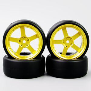 HobbyGo-4pcs-1-10-RC-Speed-Drift-Racing-Car-Tires-Tyre-Golden-Wheel-Rim-For-HPI
