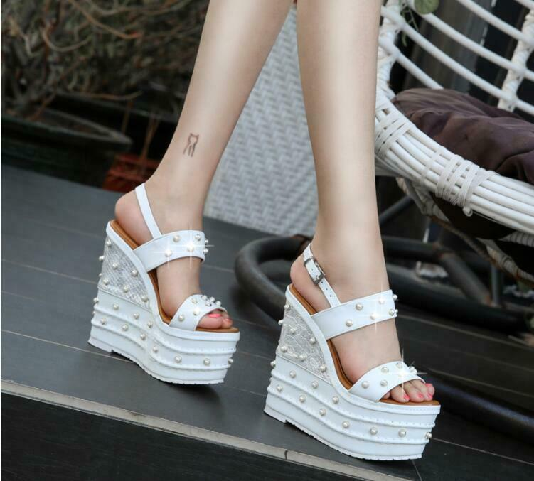 Womens Pearls Creeper High Wedge Heels 16cm Buckle Slingback Sandals  Pumos shoes