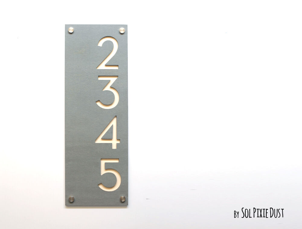 Modern House Numbers, Concrete with Beige - Grünical