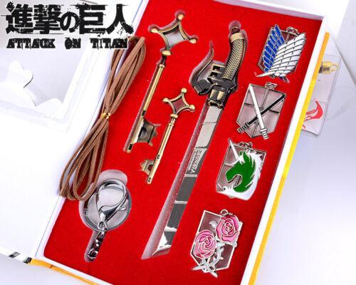 Anime Attack on Titan Shingeki no Kyojin Metal Badges Keychains Weapon Cosplay