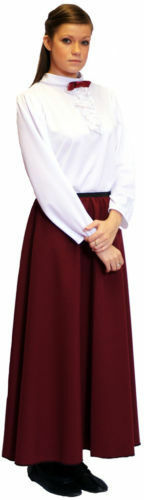 Victorian-Ladies-Dance Character-Stage-GOVERNESS Blouse /& Burgundy Skirt 8-42