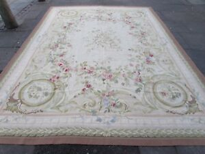Old-Hand-Made-French-Design-Wool-Beige-Pink-Green-Original-Aubusson-369X272cm