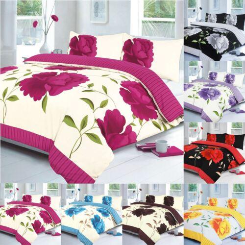 ROSALEEN DESIGNER FLOWER PRINTED BEDDINGS DUVET COVER SHEET PILLOW QUILTS SET