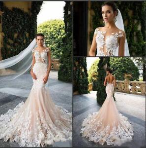 5cc1973649c12 Details about Blush Applique Lace Mermaid Wedding Dresses Vestido De Novia  Elegant Bridal Gown