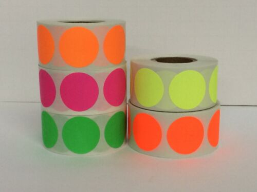 3/4 FLUORESCENTS Circle Color Coded Inventory Warehouse Dots (5 Rolls, 1000/RL)