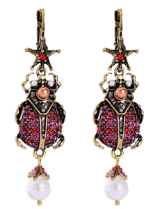 NEW Scarab Beetle Skull Zara  McQueen Style Red /& Pink Crystal Pearl Earrings