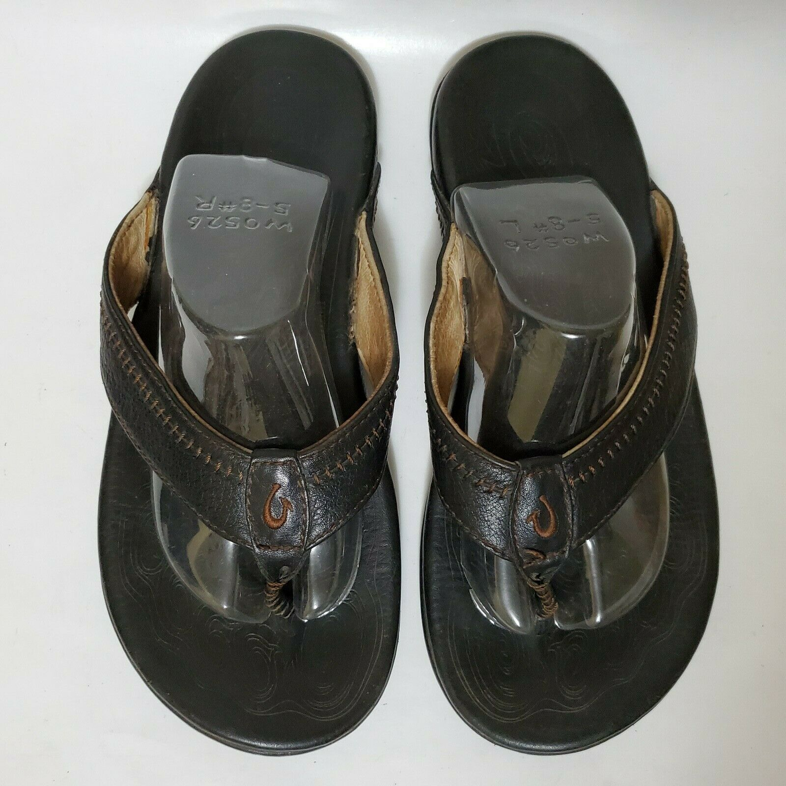 Olukai Hiapo 9 Mens 10101-4040 Black Leather Slippers Flip Flops Shoes